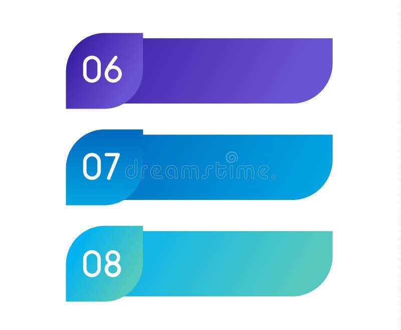 Flujo de trabajo de la disposición Menú colorido del esquema para el interfaz del app Opciones del número Elementos del diseño we libre illustration