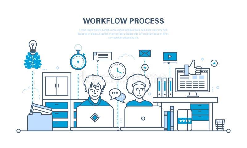Flujo de trabajo, lugar de trabajo, ambiente, software y soporte físico, proceso del pensamiento, comunicación libre illustration