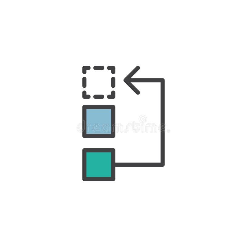 Flujo de trabajo o icono llenado proceso del esquema libre illustration