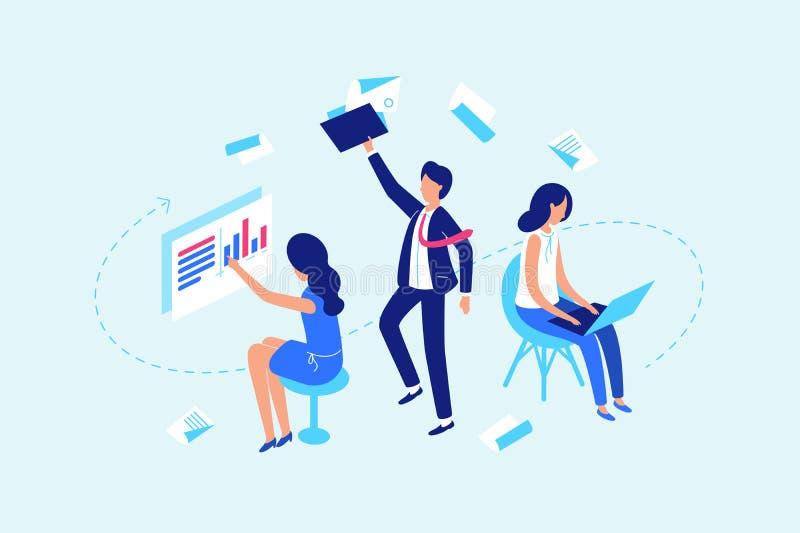 Flujo de trabajo, trabajando con los documentos y los datos libre illustration
