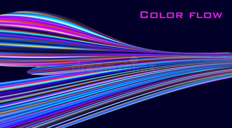 Flujo del color Onda colorida en fondo negro Gráficos de vector ilustración del vector