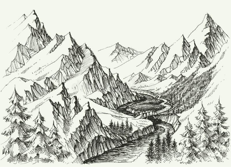 Flujo del río en las montañas ilustración del vector