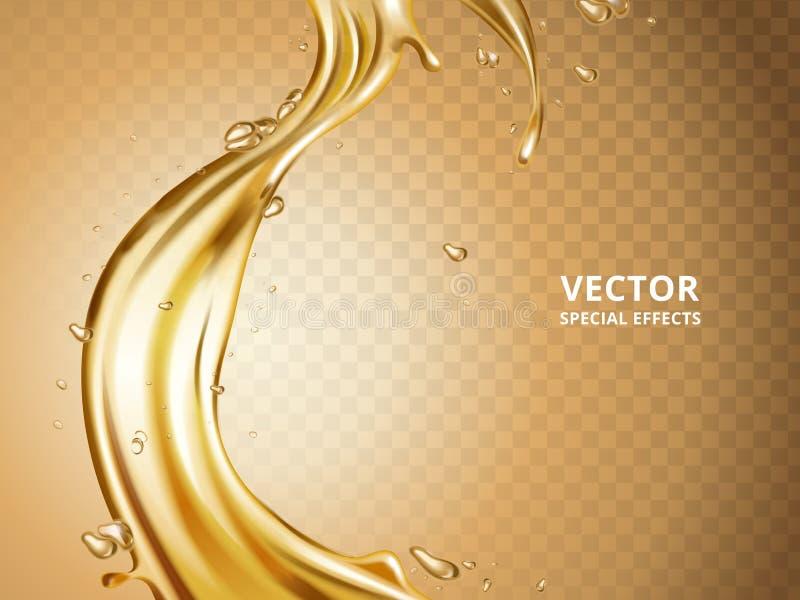Flujo flúido del oro ilustración del vector