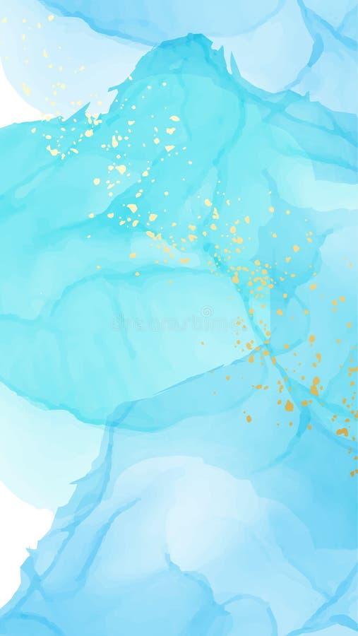 Flujo l?quido de la repetici?n de la acuarela del vector en colores de los azules marinos con brillos del oro Extracto del grunge ilustración del vector