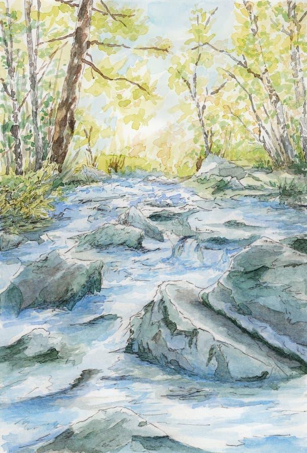 Flujo pedregoso del río entre los árboles ilustración del vector