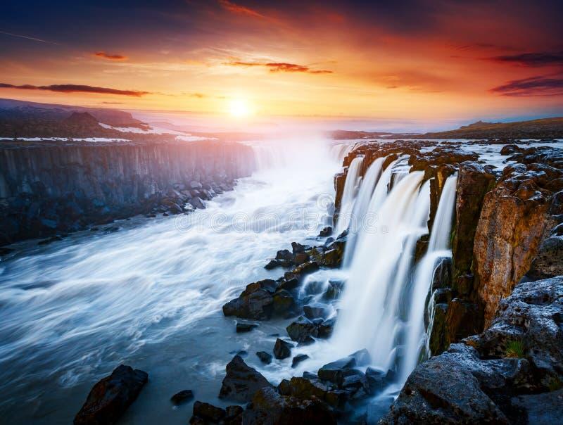 Flujo rápido de cascada potente de Selfoss del agua Inusual y gorgeo fotos de archivo