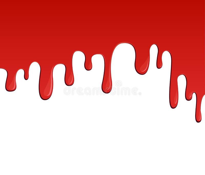 Flujo rojo de la sangre o de la pintura stock de ilustración