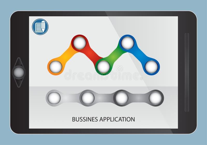 Flujo y gráfico del negocio en la pantalla de la tableta ilustración del vector