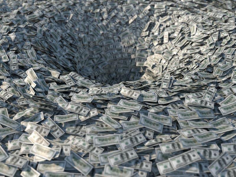 Flujos de dinero en un embudo ilustración del vector