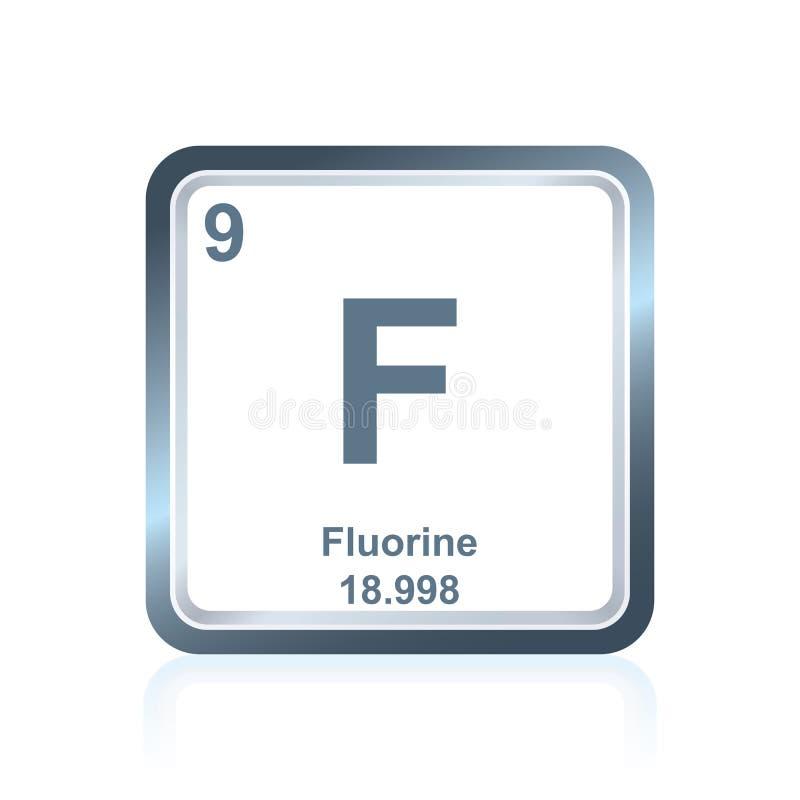 Fluor för kemisk beståndsdel från den periodiska tabellen stock illustrationer