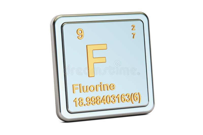 Fluor F, chemisch elemententeken het 3d teruggeven royalty-vrije illustratie