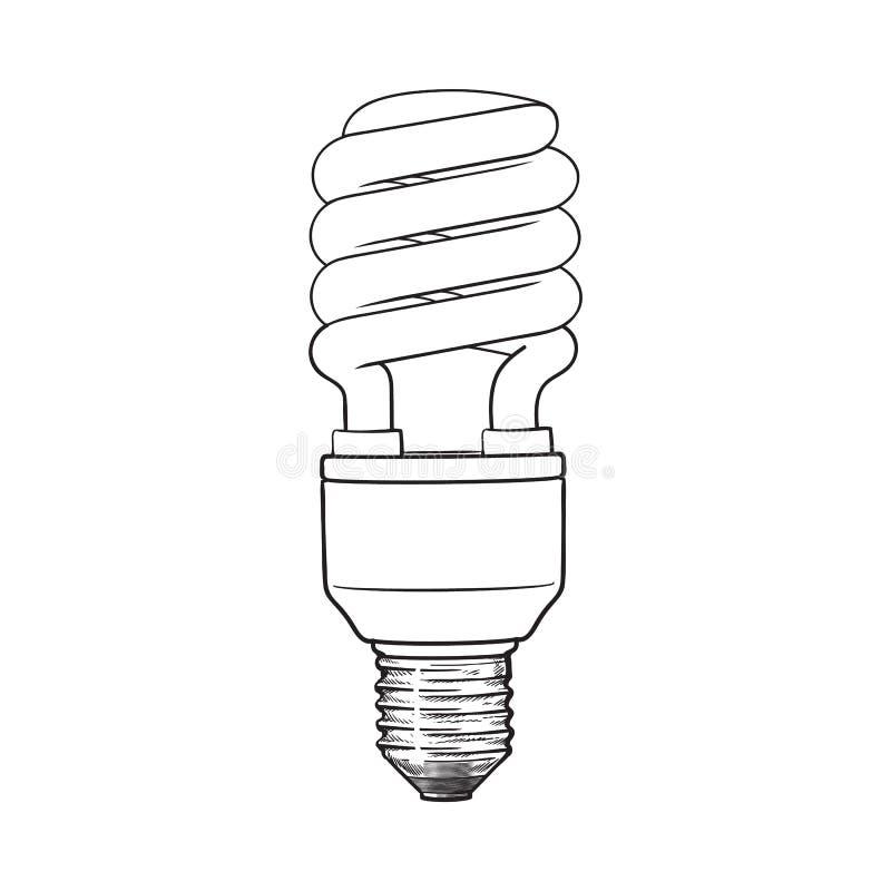 Fluorescencyjna, energooszczędna, ślimakowata żarówka na białym tle, royalty ilustracja