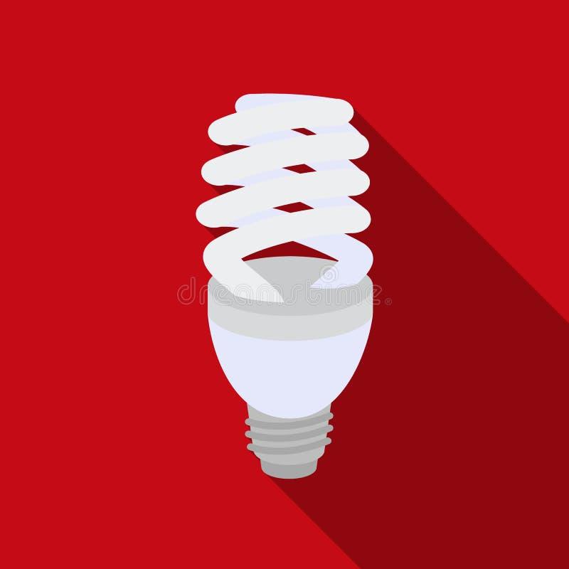 Fluorescencyjna lightbulb ikona w mieszkanie stylu odizolowywającym na białym tle Źródło światła symbolu zapasu wektoru ilustracj royalty ilustracja