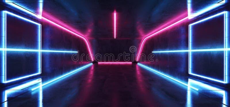 Fluorescencyjnego Wibruj?cego Neonowego Futurystycznego Sci Fi rzeczywisto?ci wirtualnej Cyber tunelu betonu Rozjarzonego Purpuro ilustracja wektor