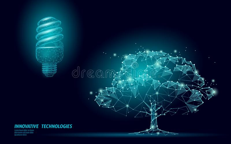 Fluorescent eco lamp tree save energy concept. Low poly 3D light bulb idea environment ecology solution. Nature planet stock illustration