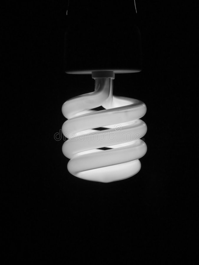 Fluorescent energy saving light bulb. Compact fluorescent energy saving light bulb stock photos