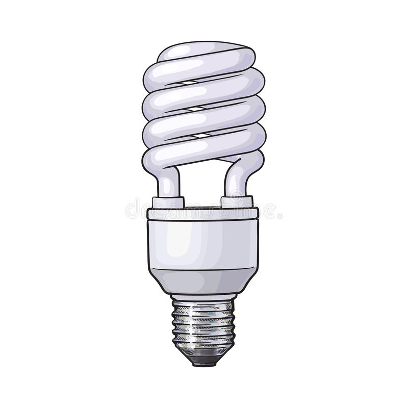 Fluorescent, energy saving, spiral light bulb on white background royalty free illustration