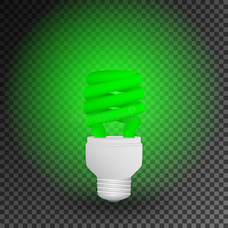 Fluorescent green economical light bulb glowing on a transparent background. Save energy lamp. royalty free illustration