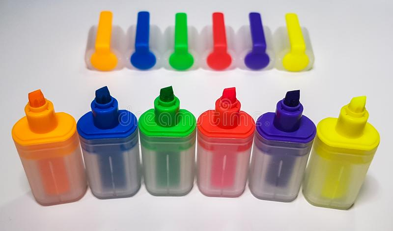 Lined up highlighter markers royalty free stock photo