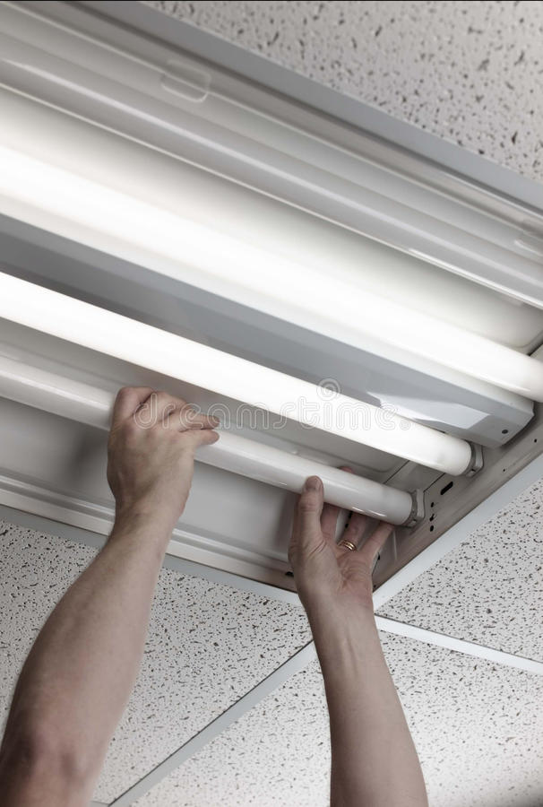Fluorescent lamp. Man installs fluorescent lamp in ceiling ballast royalty free stock image
