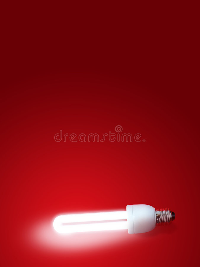 Fluorescent lamp. With Red background stock images