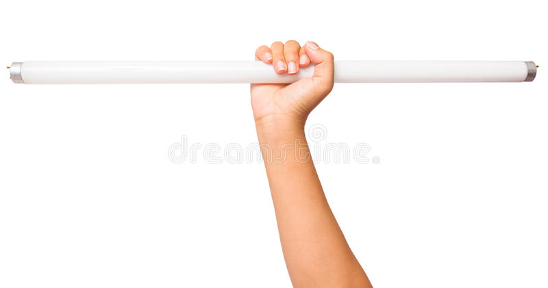 Fluorescent lamp. In hand on white stock photo