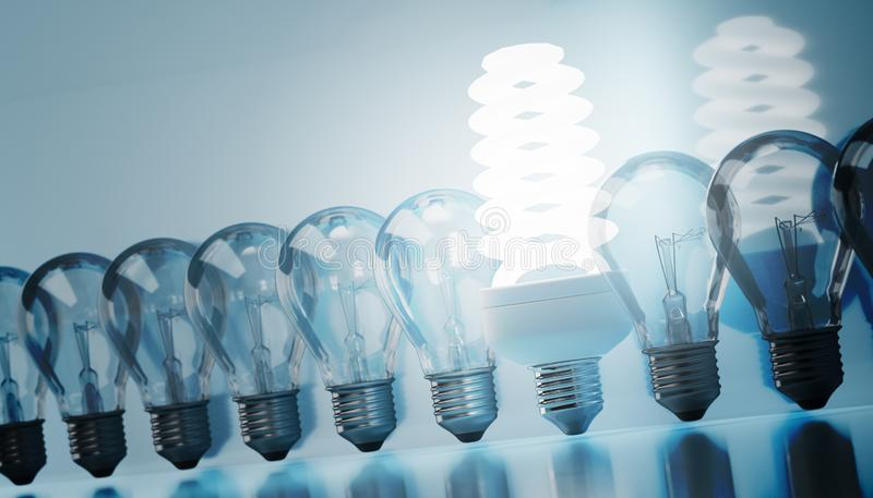 Fluorescent lamp and many old bulbs. 3D rendered illustration.  vector illustration