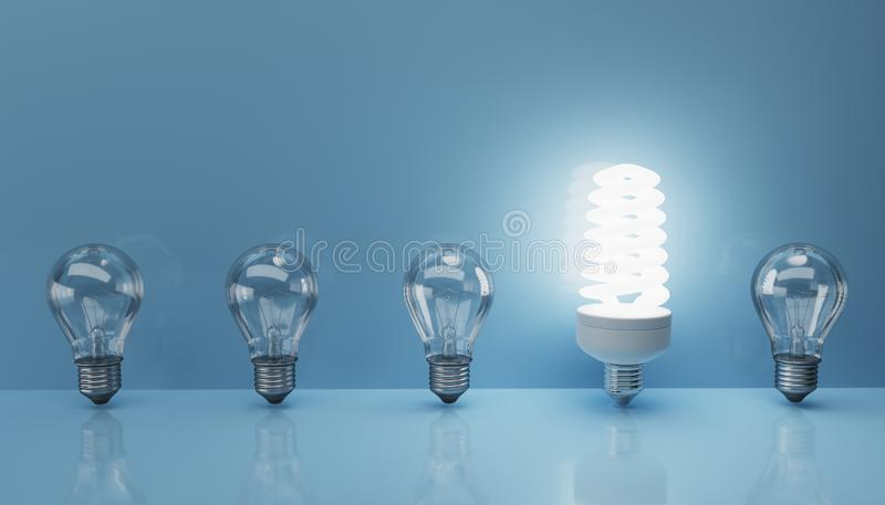 Fluorescent lamp and old bulbs. 3D rendered illustration.  stock illustration