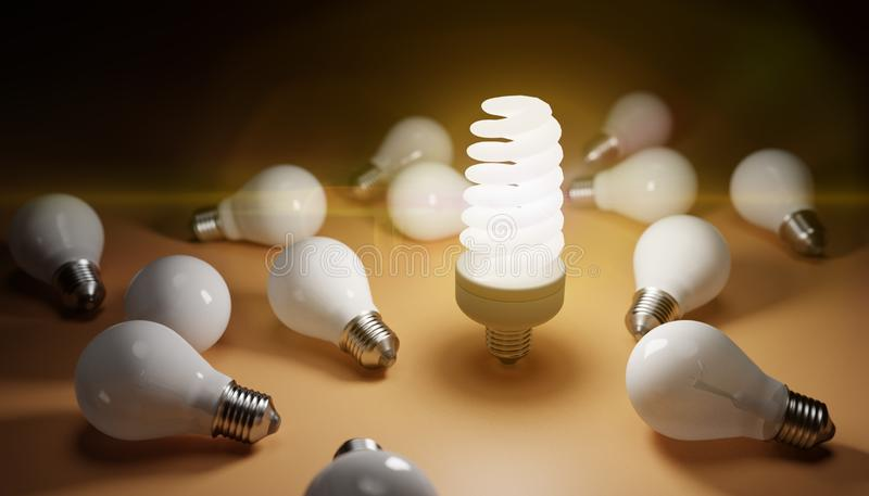 Fluorescent lamp shining and many old bulbs around. 3D rendered illustration.  stock illustration