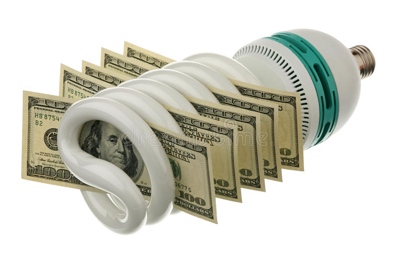 Fluorescent lamp and US dollars. On a white background stock image
