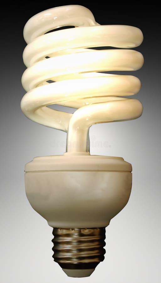 Fluorescent Light Bulb. Single lit fluorescent light bulb on a gradient background stock image