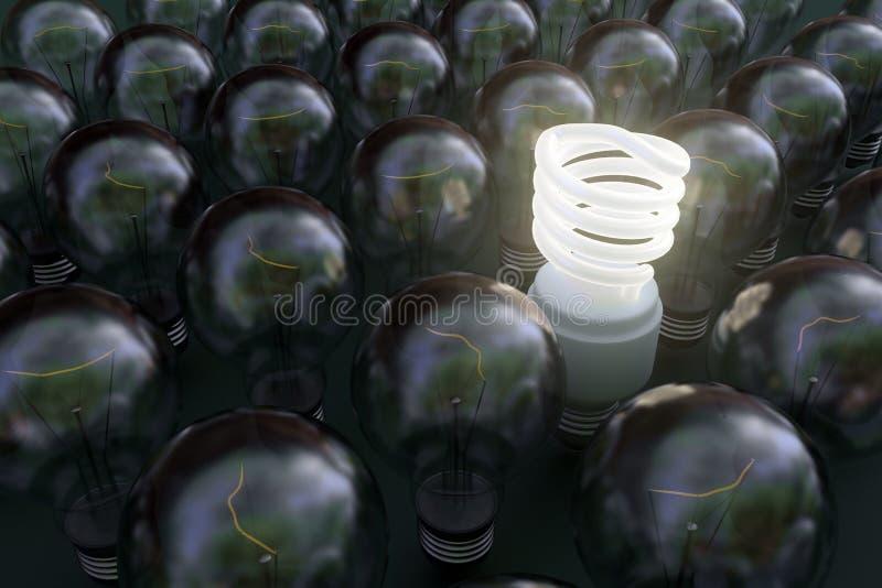 Fluorescent light bulb. Among dark incandescent bulbs stock photo