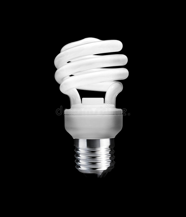 Fluorescent Light Bulb. On a black background (with clipping work path royalty free stock photo
