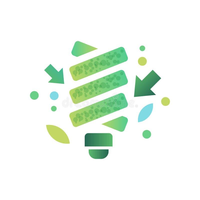 Fluorescent light bulb, green ecological lightbulb, eco friendly technologies vector Illustration on a white background. Fluorescent light bulb, green ecological vector illustration