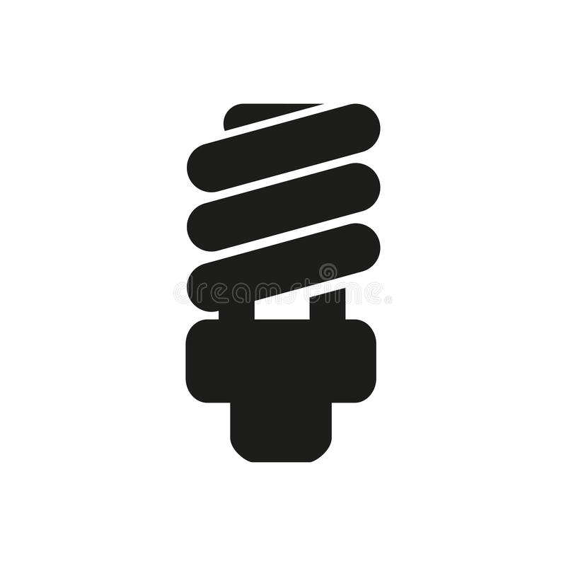 Fluorescent Light Bulb icon in a flat design on a white background stock illustration