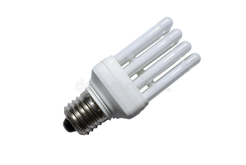Fluorescent light bulb isolated on white. Fluorescent light bulb isolated on white background stock photography