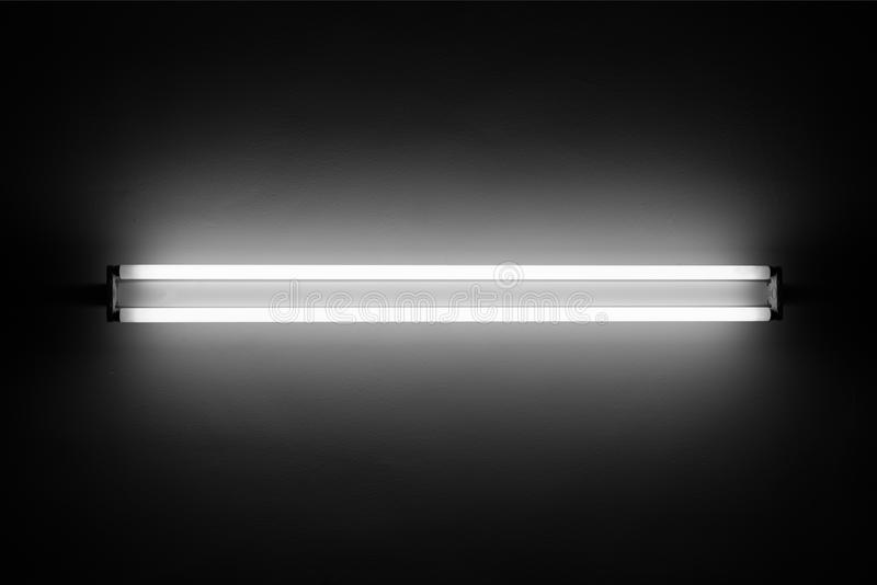 Fluorescent light. Tube on the wall stock photography