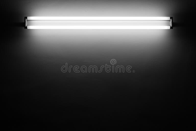 Fluorescent light. Tube on the wall stock photos