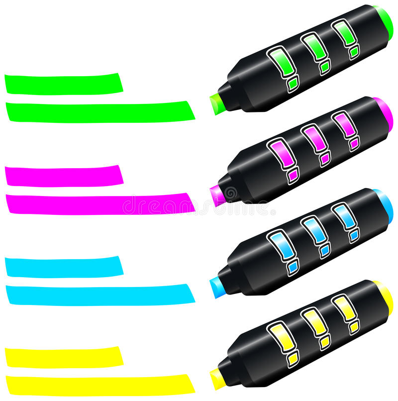 Download Fluorescent Marker stock vector. Image of highlighters - 32931156