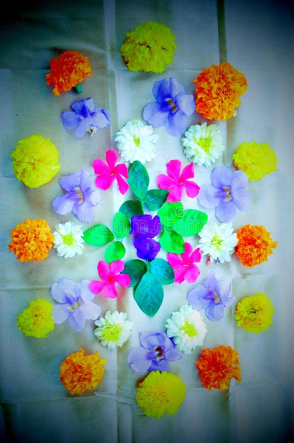 Fluorescent scent flowers. A beautiful decoration of flowers with bright and fluorescent colors stock image