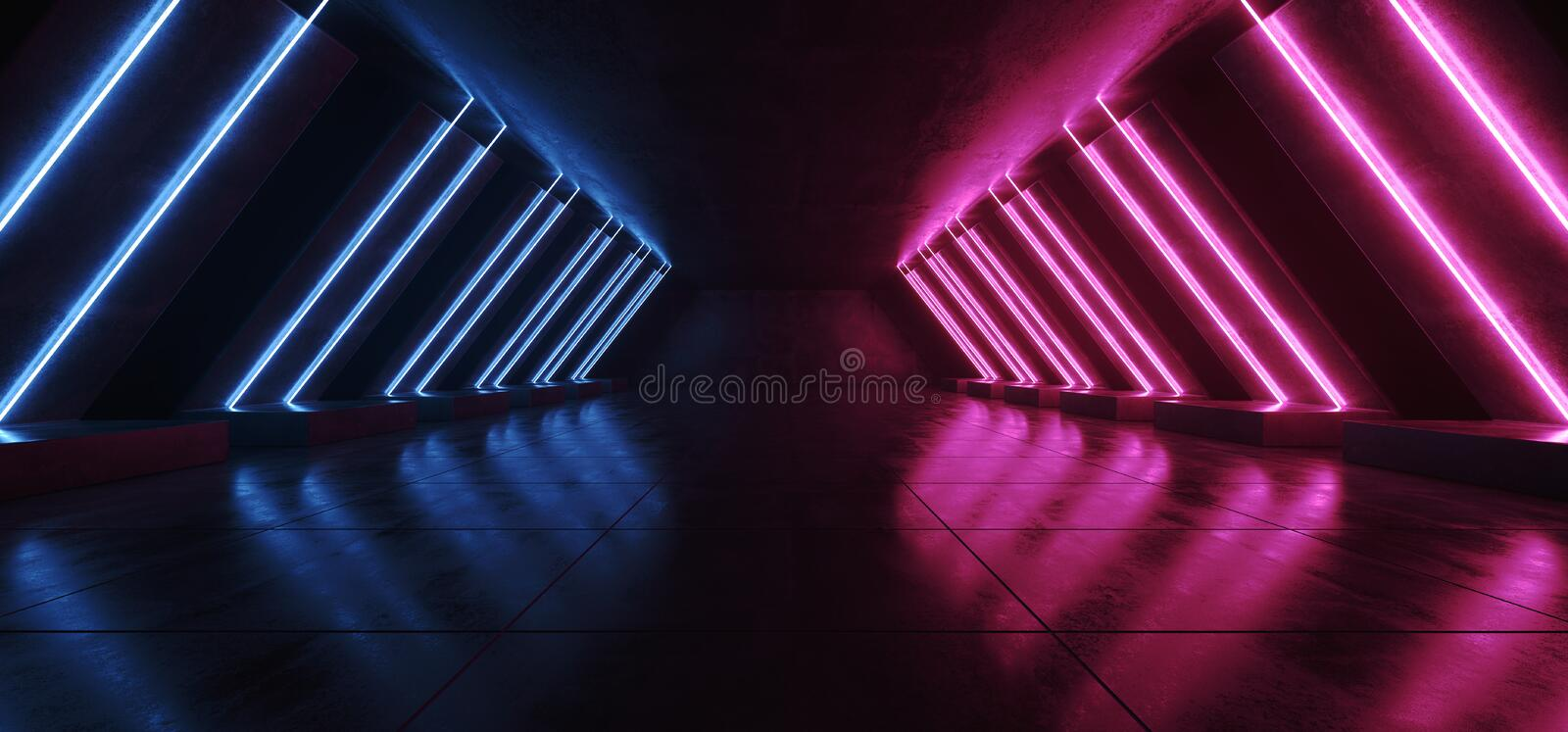 Fluorescent  Sci Fi Neon Glowing Vibrant Blue Laser Tube Shaped Lights Elegant Modern In Reflective Concrete Grunge Tiled Corridor. Tunnel Entrance 3D Rendering stock illustration