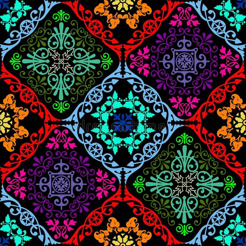 Fluorescent seamless tapestry stock illustration