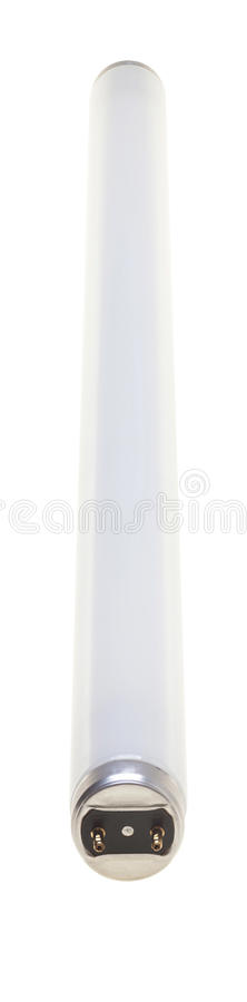 Fluorescent Tube isolated over white background. Fluorescent Tube, closeup with tilt focus, isolated over white background and path stock photo