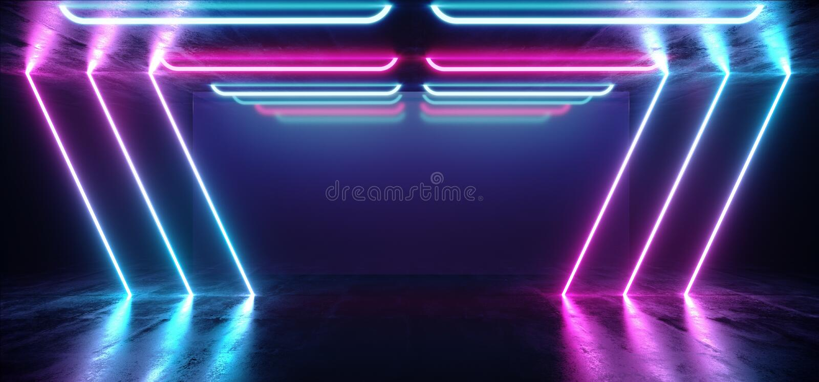 Fluorescent Vibrant Neon Futuristic Sci Fi Glowing Purple Blue Virtual Reality Cyber Tunnel Concrete Grunge Floor Room Hall Studio stock illustration