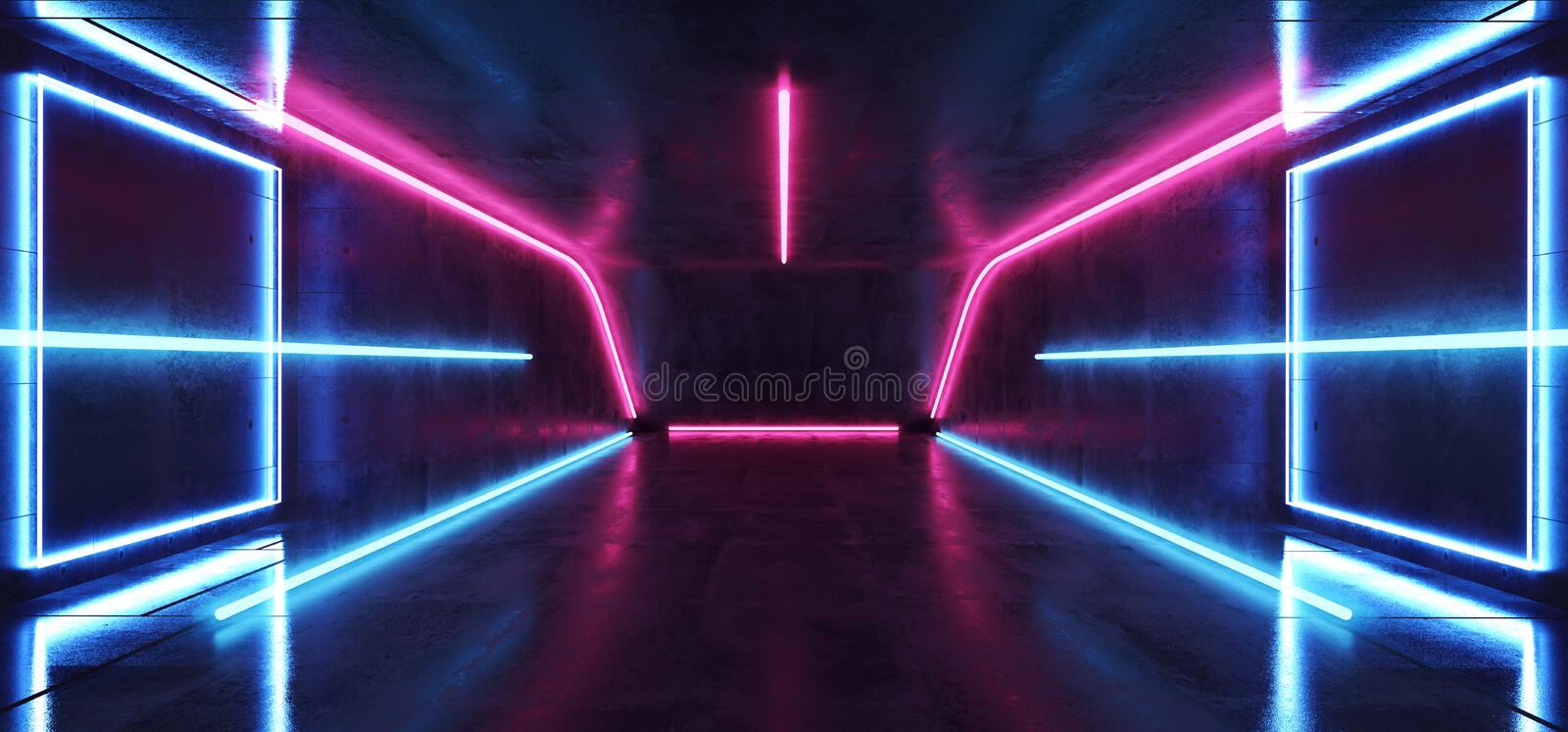 Fluorescent Vibrant Neon Futuristic Sci Fi Glowing Purple Blue Virtual Reality Cyber Tunnel Concrete Grunge Floor Room Hall Studio vector illustration