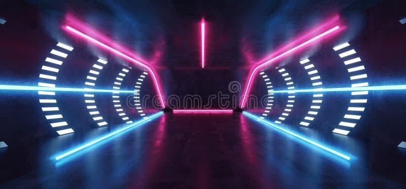 Fluorescent Vibrant Neon Futuristic Sci Fi Glowing Purple Blue Virtual Reality Cyber Tunnel Concrete Grunge Floor Room Hall Studio. Stage Empty Space Background stock illustration