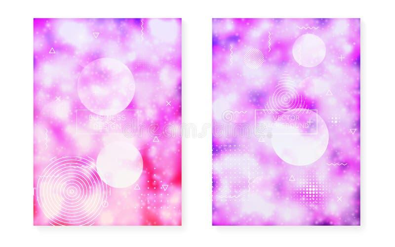 Fluorescente achtergrond met vloeibare neonvormen Purpere Vloeistof Lichtgevende dekking met bauhausgradiënt royalty-vrije illustratie