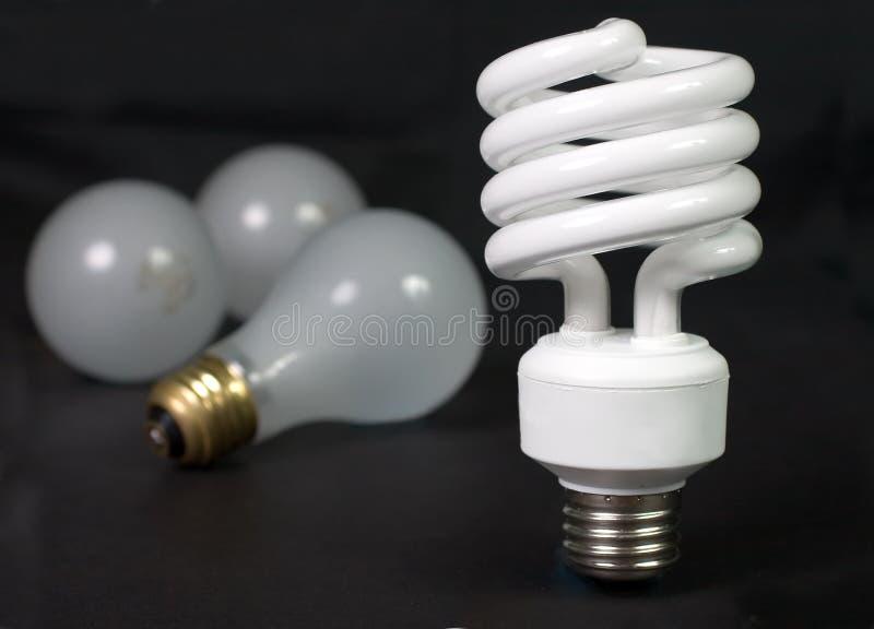Fluorescente con incandescente fotografia stock