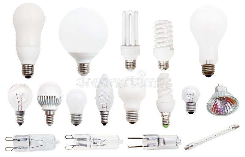 Fluorescentes incandescente, compacto, lâmpadas do halogênio imagem de stock royalty free