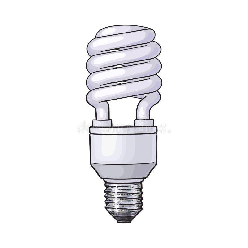 Fluorescerande energi - besparing, spiral ljus kula på vit bakgrund royaltyfri illustrationer